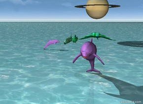 There are 4 turquoise and green fish on top of the lavender dolphin. the ground is water. There is a planet 2 feet above and 25 feet behind the fish. there is a small lavender dolphin facing east.
