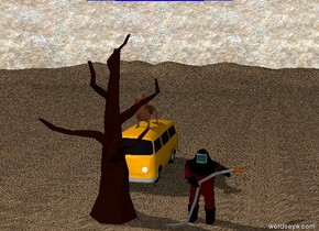 the man is on the ground. the man is 8 feet tall. next to the man is a tree. the tree is 20 feet tall. the sky is blue. the tree is dead. the ground is skin. the background is granite. behind the tree is a van. on top of the van is a dog. the dog is 5 feet tall.