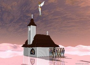 There are nine girls facing the church.  The big angel is on the church. The shiny ground is pink.