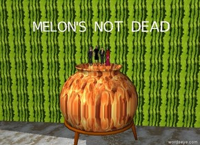 "The four small women are on the huge [fire] cauldron. There is a huge wall behind the cauldron. The wall has a melon image. The ground is lava. ""MELON'S NOT DEAD"" is 2 feet above the women."