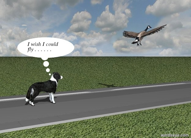 Input text: the border collie is on the very long grey road. the wide sky is cloudy. the ground is grass.   the very large bird is three meters in front of the dog. the bird is two meters above the ground