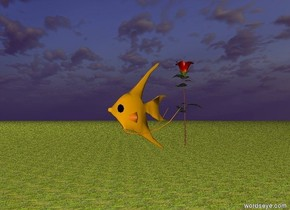 The ground is grass. The fish is in the sky. There is a rose behind the fish.