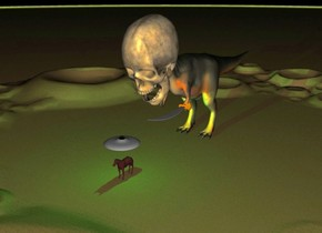 The big brown horse on the ground.  Ground is unreflective sand. It is midnight. ufo 5 feet above the horse.  Green light 4 feet above the horse. Green light facing on horse. The huge dinosaur 10 feet behind the horse. 40 feet tall sword is -38 feet in front of the dinosaur. Sword is facing up. Sword is 28 feet above the ground and -28.5 feet to the left of dinosaur. 50 feet tall skull is -38 feet in front of the dinosaur. Skull is 32 feet above the ground. Skull is  leaning forward.