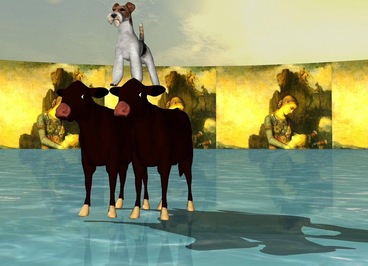 Input text: A dog is standing on the cattle. There is noise in the background. The ground is water.