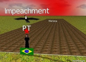 "there is a brazilian flag.  a woman in a red dress is behind the flag.  there is a red star above the woman.  inside the red star is ""PT"".  there is a river behind the woman.  a huge toucan is 1 meter above the woman.  Inside the river is ""Mariana"".  ""Mariana"" is big.  ""Impeachment"" is above the toucan.  The river is dirty.  The ground is grass.  The sky is red.  The sky is cloud.  A tornado is behind the river."
