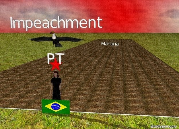 """Input text: there is a brazilian flag.  a woman in a red dress is behind the flag.  there is a red star above the woman.  inside the red star is """"PT"""".  there is a river behind the woman.  a huge toucan is 1 meter above the woman.  Inside the river is """"Mariana"""".  """"Mariana"""" is big.  """"Impeachment"""" is above the toucan.  The river is dirty.  The ground is grass.  The sky is red.  The sky is cloud.  A tornado is behind the river."""