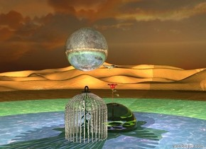 Clear sphere is 8 feet wide. shiny rose fits in the sphere. the sphere is in the lake. The sphere is in the lake. a cage is near the sphere. Cage is 11 feet tall. Lily fits in the cage. Cage is made from glass. It is dawn. Pink light is on the lily. Violet light is on the rose. The moon is 2 feet above the cage. The moon is 6 feet wide. Shiny butterfly is in front of the moon. Butterfly is 3 feet wide. Butterfly is facing the cage.  Yellow light is on the moon. Moon is shiny. Butterfly is dark
