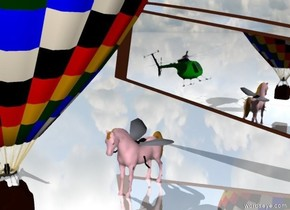 The ground is shiny. Tiny Balloon is in front of extremely giant fly. Fly tilt left. Tiny green helicopter is next to the balloon. Tiny pink Horse between the helicopter and balloon. Helicopter tilt right. Extremely wide mirror is 3 feet behind the fly. The mirror tilts 10 degrees to the left.