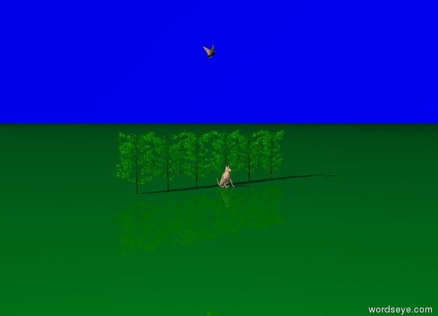 Input text: The dog is standing in front of bushes. The duck is 3 meters above  the bushes. The duck is facing right.  The sky is very light blue. The ground is green.