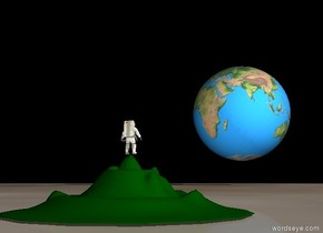 The ground is moon. The sky is black.  The 3 meters tall hill on the ground.  The astronaut on the hill. The astronaut is facing forward.  The 60 meters tall world sphere is above the ground. The sphere is 200 meters in front of The astronaut. The sphere is 15 meters above the ground.