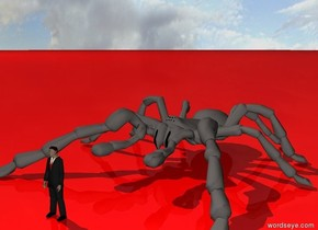 There is a man. there is a 7 feet tall spider 2 feet behind the man. The ground is red.