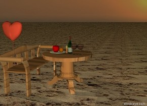 It is sunset. the ground is sand. the table on ground. the table is wood. the candle on the table. the bottle  on the table. two glasses on the table in front of bottle. a plate on the table.    apple on the plate. orange on the plate. the bench on the left of the table. it is wood. the  bench is facing the table.  large heart on the right of the bench. it is behind the table. it is 1 feet to the left.