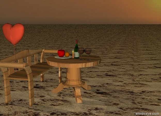 Input text: It is sunset. the ground is sand. the table on ground. the table is wood. the candle on the table. the bottle  on the table. two glasses on the table in front of bottle. a plate on the table.    apple on the plate. orange on the plate. the bench on the left of the table. it is wood. the  bench is facing the table.  large heart on the right of the bench. it is behind the table. it is 1 feet to the left.