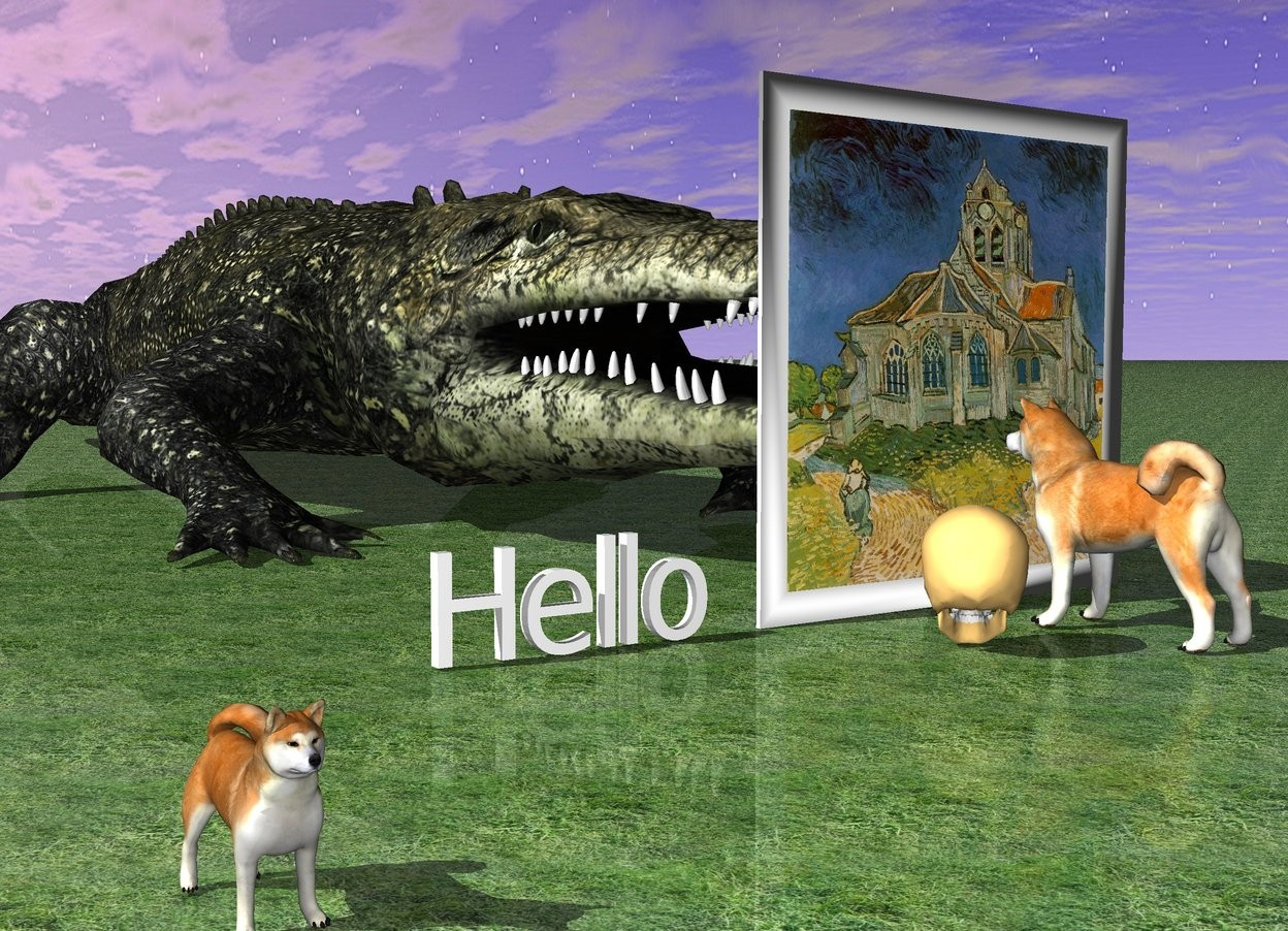 "Input text: A big dog is standing 1 feet in front of a huge picture of van gogh. the dog is facing the picture. A huge crocodile is behind the picture. The ground is grass. A big skull is 1 feet on left of the dog. The big skull is facing the picture. ""Hello"" is 1 feet left of the picture. another dog is 2 feet in front and 10 feet left of the skull."