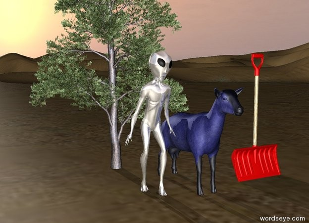 Input text: the shiny alien is next to the blue goat.  the snow shovel is a foot right of the goat.  the tiny juniper is  behind the  alien. the ground is unreflective.  the sun's altitude is 10 degrees. the sun's azimuth is 0 degrees.