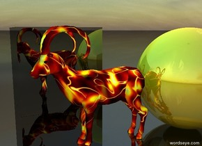 the huge shiny gold sphere is behind the goat. the goat is fire.  the huge shiny black cube is 3 feet to the left of the goat.  the ground is shiny black.  the cyan light is 3 feet above the goat.  the red vermilion light is 2 feet above the sphere.