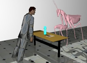 The shiny man is 9 inches in the ground. He is leaning forward. There is a table behind the man. The extremely giant pink bug is  behind the table on the ground. The bug is 72 inches tall. The man is facing the bug. The ground is tile. There is a wall 72 inches to the left of the man. The wall is facing the man. The wall is 600 inches long. It is afternoon. There is a small shiny cyan bottle on the table. There is a large [girl] card 5 inches to the right of the bottle.