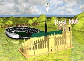"The ground is extremely enormous grass. There is an arena. Enormous brown ""Lame Impure Idols"" is on top of the arena. It faces left. There is a church 1000 inches to the left of the arena. Enormous pink ""Real Idols"" is on top of the church. ""Real Idols"" is facing left. A huge angel is 60 inches above the church. The angel is facing left."