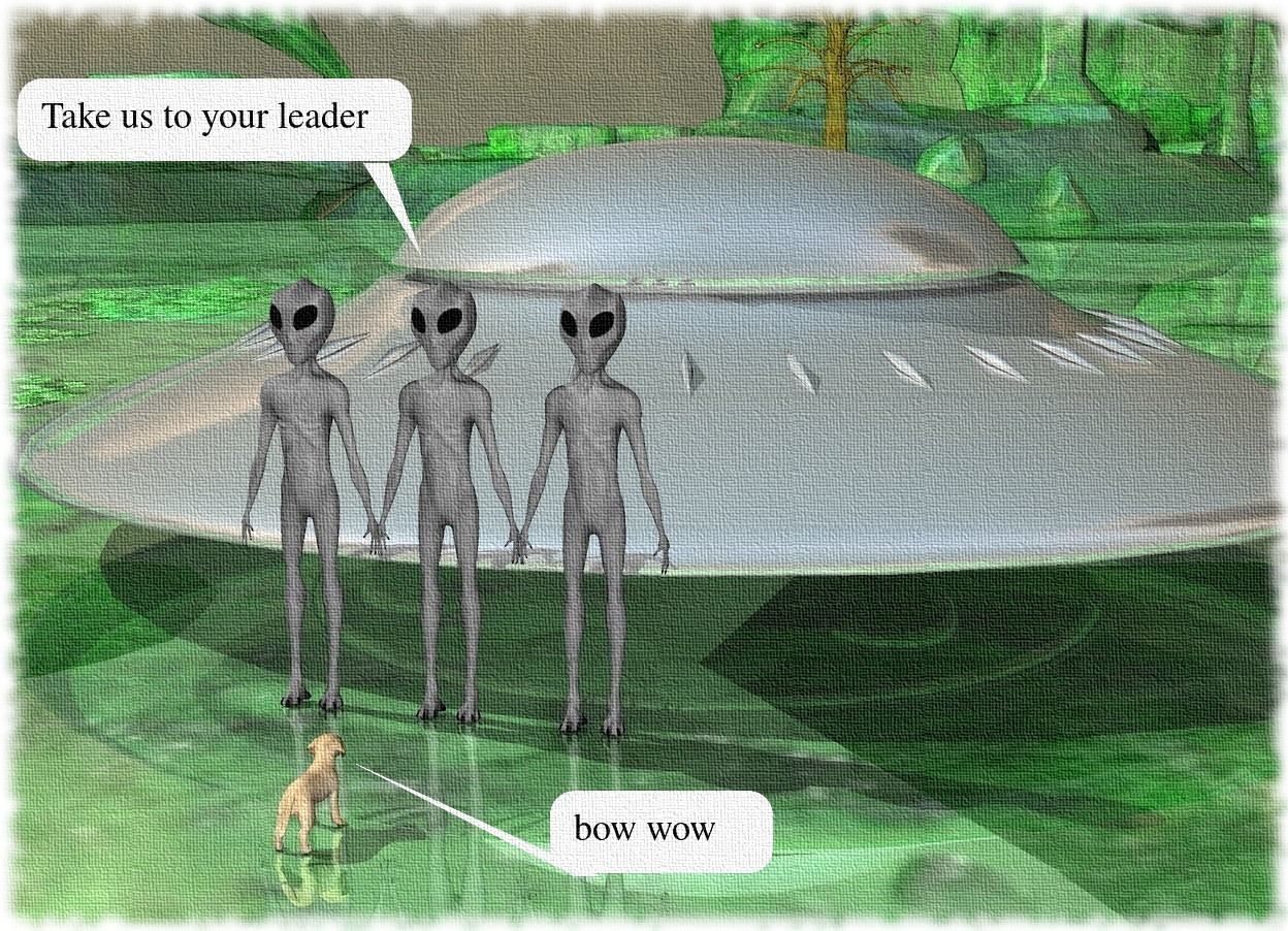 Input text: There are 3 aliens. the ground is shiny green. the shiny gray spaceship is behind the aliens. the 10 feet tall tree is behind the spaceship. the dog is 2 feet in front of the aliens. the dog is facing the aliens.