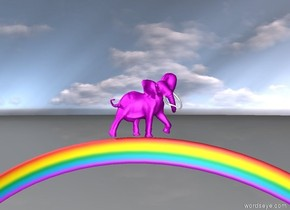 the bright purple elephant is on the rainbow. the elephant is facing right.
