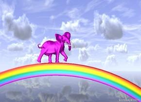 the bright purple elephant is on the rainbow. the elephant is facing right. the ground is translucent.