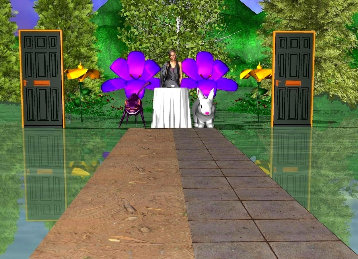 Input text: The ground is green.     There is grass on the ground.  There is a woman.   The woman is behind a white table.  There is grass on the left and right of the table.  There is a teacup on top of the white table.  There are cookies on top of the white table.  There is a big purple cat on the left of the white table.  There is a huge white rabbit on the right of the table.  There are three roses three feet behind the woman.  There are four small trees behind the roses.  There are four enormous flowers in front of the roses.  There are two paths in front of the table.  There is a door four feet left of the cat.  There is a door four feet right of the rabbit.