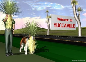 "the yucca is 3 feet in the green man. it is -3.7 feet in front of the man. the dog is one foot to the right of the man. another yucca is -2.7 feet in front of the dog. the ground is grass. the road is to the right of the dog. it is 100 feet long. the wall is to the right of the road. it is 25 feet behind the dog. it is 4 feet above the ground. a large yucca is to the left of the wall. it is on the ground. The red ""Welcome to"" is in front of the wall. it is 9 feet above the ground. the red ""YUCCAVILLE"" is 1.5 feet below the ""Welcome to"". it is 17 feet wide. another very large yucca is -6 feet to the right of the wall. it is on the ground. it is facing left."