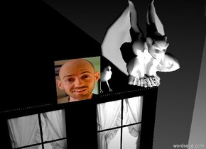 a cube is 50 feet wide and 50 feet deep and 100 feet tall. the cube is [window]. [window] is 12 inch tall. it is night.  a black floor is -1.2 inch above the cube. it is 50 feet wide and 50 feet deep.  a white gargoyle is 1 feet wide. it is -4.5 inches above the cube. it is -7 inches to the front. it is -7 inches to the right.  a white bird is next to the gargoyle. it is .2 feet wide. it is above the floor. its leg is white. its beak is white.  a [me] cube is left of the bird.  The cube is .5 feet wide.  ambient light is black. camera light is black.  1st white light is in front of the gargoyle.  2nd white light is in front of the gargoyle.