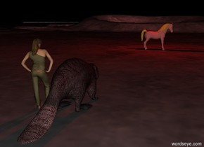 Moonscape. It is night. The huge red beaver is next to the girl. The horse is in front of the huge red beaver. The horse is 40 feet away from the huge red beaver. The horse is facing left. The horse is  earth pink. The red light is 2 feet above the horse.