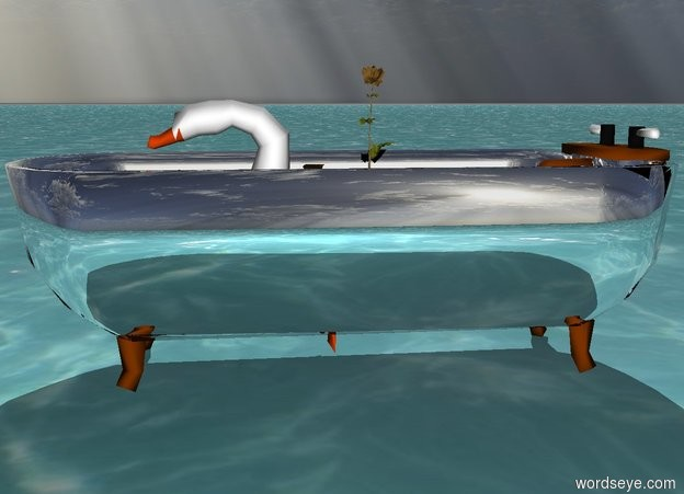 Input text: The silver bathtub is on top of the ocean.  The white swan is in the bathtub.  It is sunny.  The rainbow flower is on top of the swan.