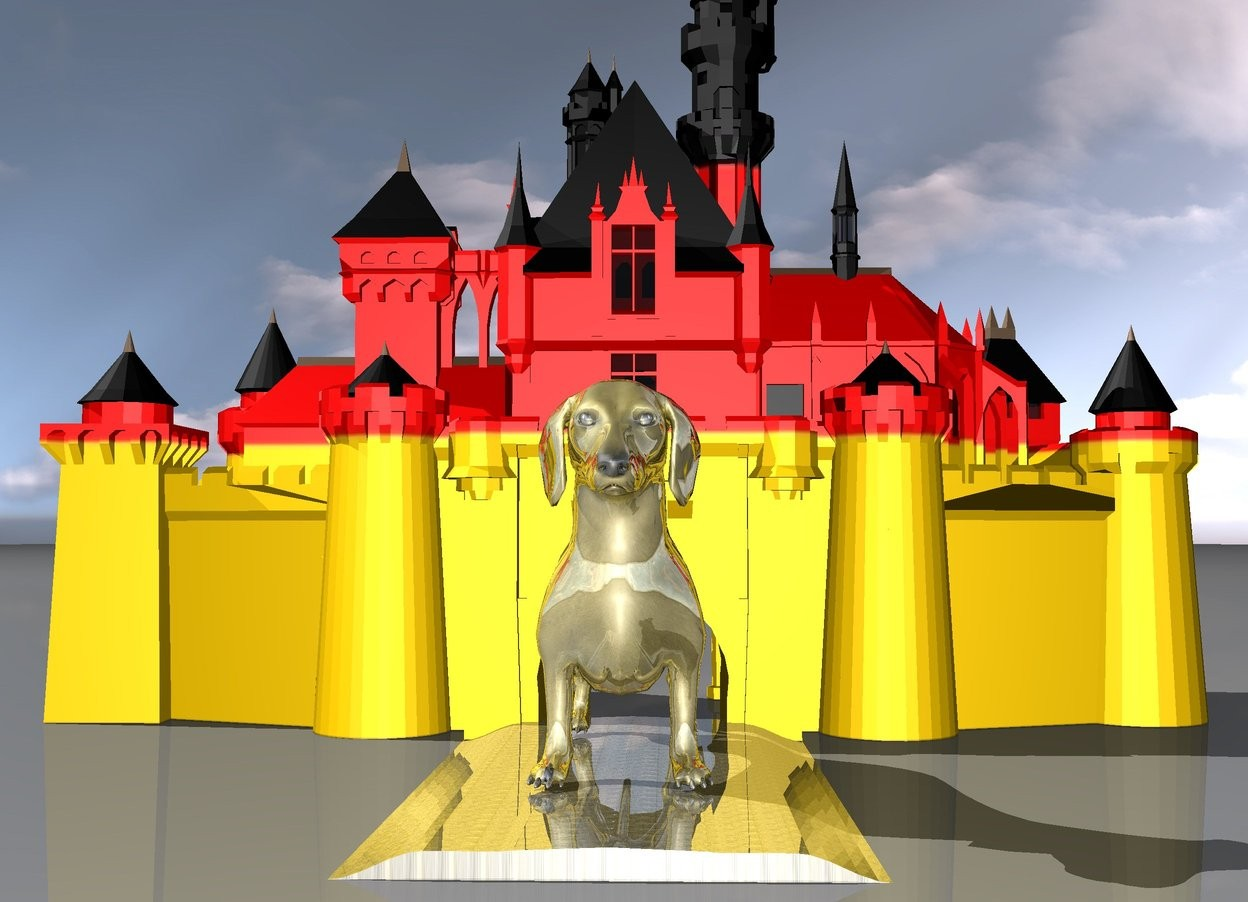 Input text: the gigantic golden dog is on the  golden brick road in front of the german castle