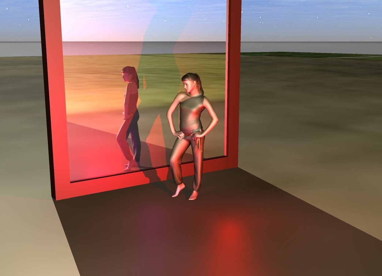 Input text: The huge hanging mirror is on the meadow. The small girl is one foot to the right of the mirror. The mirror is facing left. The white blue is 10 foot above the girl. A red light is 6 inches right of the girl. A purple light is in front of the girl.