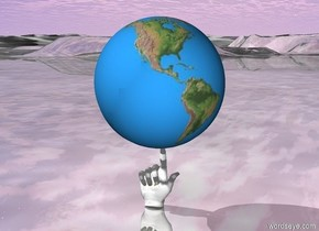 There is the earth above the big hand . The ground is shiny