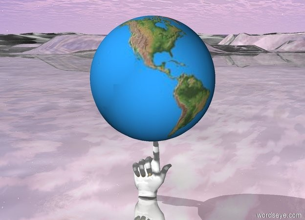 Input text: There is the earth above the big hand . The ground is shiny