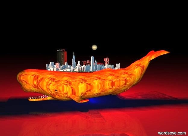 Input text: whale. whale has fire texture.city on the whale. City is facing west. the sky is reflective. tiny factory near city. it is night. 5 red lights above the whale. 10 blue lights under the whale. there is tiny saturn above the whale. the ground is dark