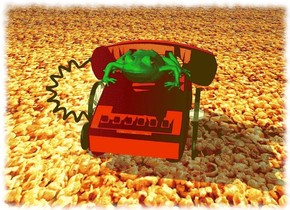 A green frog is on top center of a red telephone. The telephone is 3 feet tall. The telephone is 5 inch above the ground.  The cord of the telephone is black.   The frog is 1.2 feet tall. The  eye of the frog is black and shiny.  The  [popcorn] image is on the Ground. The sky is [popcorn] too. It is 10 feet wide.   The light is 2 feet left of the frog. It is 5 feet behind the telephone.  1 inch to the left of the foot of the telephone is a wheel.  1 inch in front of the wheel is a black button.  1 inch to the right of the foot of the telephone is a wheel.  1 inch in front of the wheel is a second black button.  the wheels are 12 inch big. The wheels are on the ground.  the buttons are 1 feet tall. The buttons are on the ground. They face left.