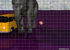 The ground is purple. Three red stars are on the ground. In front of the stars is a big  elephant.  A car is next to the elephant. In the air is a cake.
