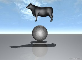 the cow is 1 foot over the huge moon.