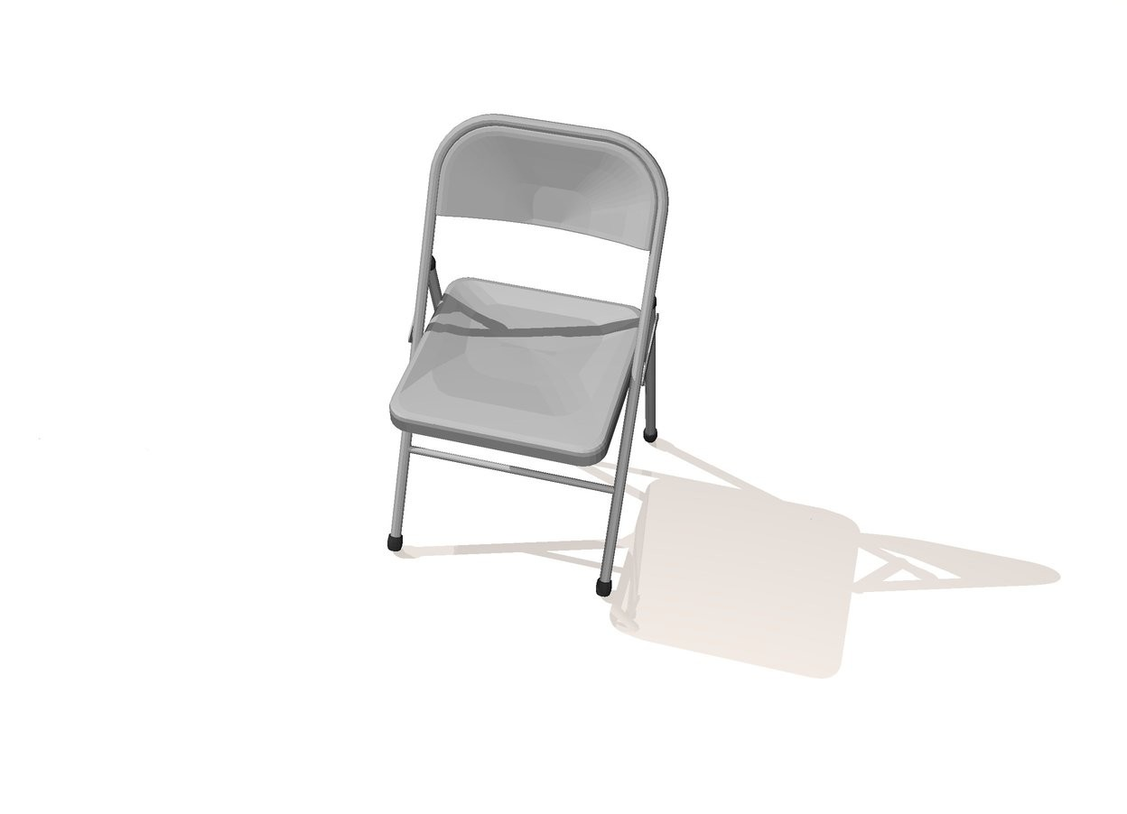 Input text: The ground is seashell. The sky is shiny white. The folding chair is on the ground. The silver light is above the folding chair.