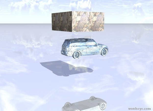 Input text: the stone is one inch above the small water car.  the ground is shiny