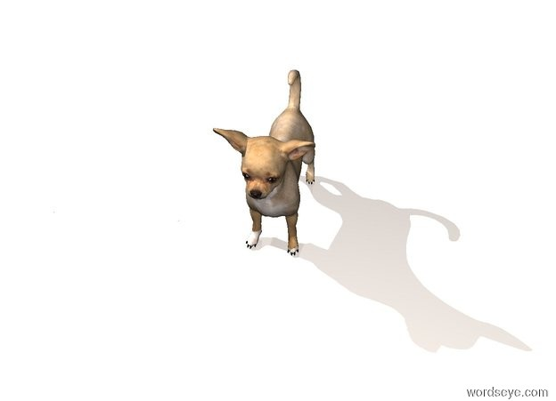 Input text: The ground is seashell. The sky is shiny white. The chihuahua is on the ground. The silver light is above the chihuahua .