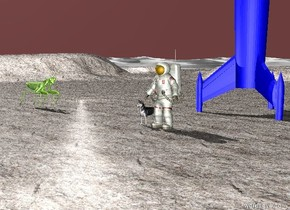 a dog. A man is to the right of the dog. The ground is granite. A rocket is 10 feet behind the man. The sky is Dark red. A insect is 15 feet to the left of the dog. The insect is 5 feet tall. The light is weak. The insect is facing the dog. The rocket is Blue.