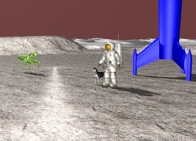 Input text: a dog. A man is to the right of the dog. The ground is granite. A rocket is 10 feet behind the man. The sky is Dark red. A insect is 15 feet to the left of the dog. The insect is 5 feet tall. The light is weak. The insect is facing the dog. The rocket is Blue.