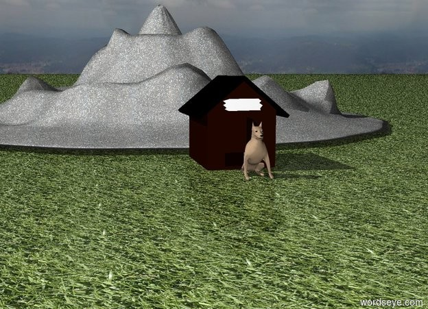 Input text: small Dog at doghouse. Grass ground. very small rock mountain behind doghouse