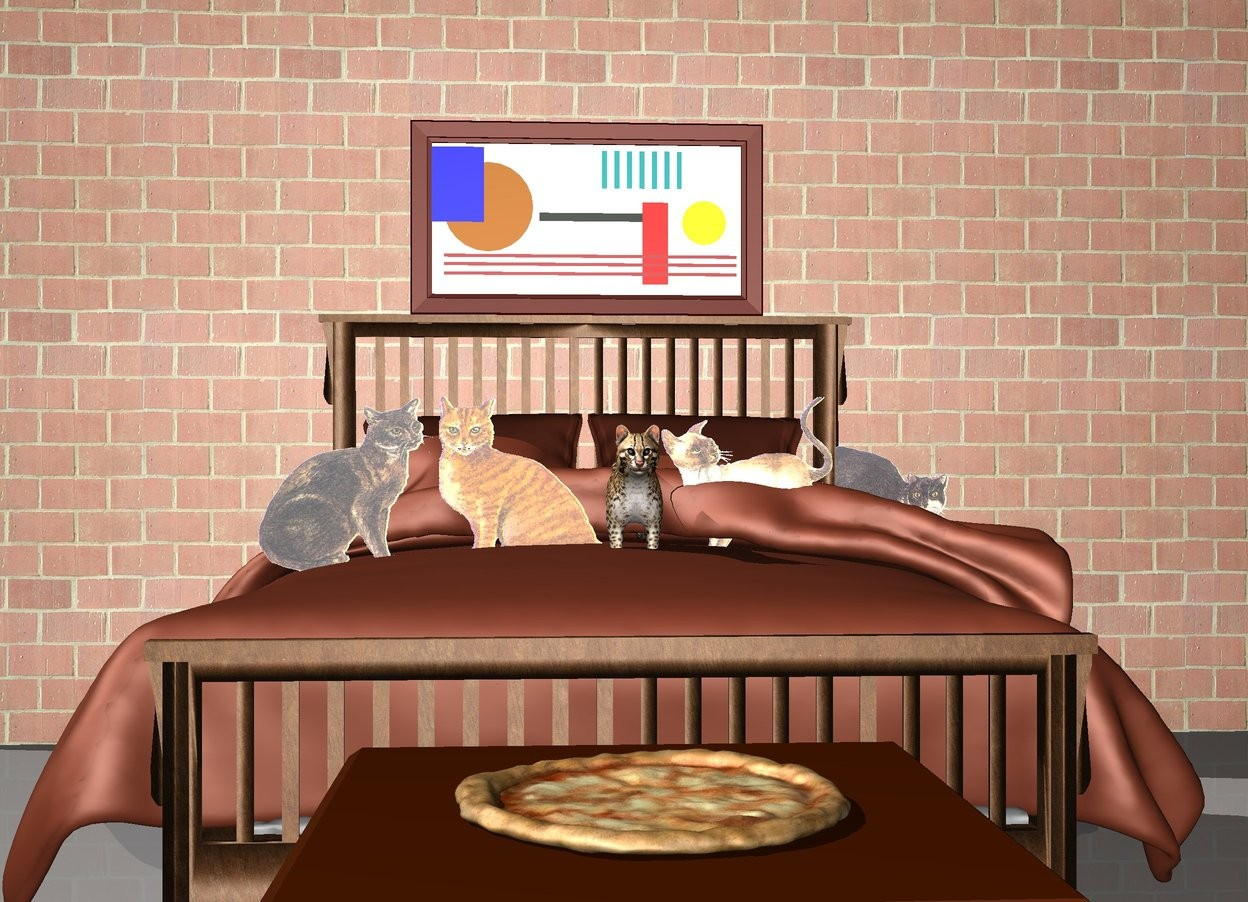 Input text: There is a bed on the ground. There are 5 small cats on top of the bed. There is a long tall brick wall behind the bed. There is a painting on the wall above the bed. There is a table in front of the bed. There is a pizza on the table.