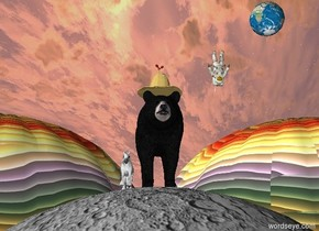 There is a black bear.  The black bear is on the humongous moon.  There is a cowboy hat on the black bear. There is a small Earth 3 feet above the black bear.  The Earth is 3 feet to the right of the black bear. There is a tiny  unicorn next to the black bear.  There are 2 rainbow hot air balloons under the earth and behind the black bear. The tiny astronaut is 1 foot to the right of the black bear and 1 foot beneath the earth. The astronaut is upside down. There is a flower on and inside the cowboy hat.