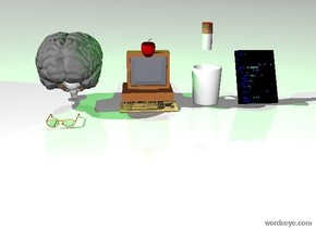 a giant computer. a white sky. a white ground. a giant apple in the screen of the computer. an enormous brain two feet away from the computer. a giant headwear in front of the brain. an enormous cup to the right of the computer. the enormous cup is two feet away from the computer. a big [program] frame to the right of the cup. a big [program] frame is two feet away from the cup. an enormous cigarette above the cup. the enormous cigarette is two feet above the cup. the enormous cigarette is facing left. green light on the cigarette.