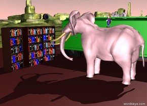 a massive pink elephant is five feet to the right of the green boxcar. a tiny clown is on the elephant. three bookcases are three feet in front of the elephant. the bookcases are facing the elephant. the ground is grass. a large brown pond is under the elephant. a cactus is on the boxcar. a one foot tall purple eyeball is one foot above the first bookcase. the eyeball is facing the elephant.