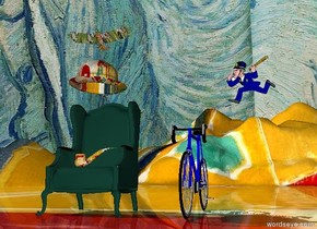 Very large chair to the left. Enormous Matisse bowler hat one foot above chair. Enormous matisse pipe on chair. very large bicycle six feet  to the right of chair.  police officer three feet above bicycle two feet to the right. Large Matisse  bird two feet above bowler.matisse  ground. Van Gogh Sky.