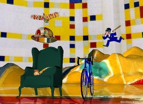 Very large chair to the left. Enormous Matisse bowler hat one foot above chair. Enormous matisse pipe on chair. very large bicycle six feet  to the right of chair.  police officer three feet above bicycle two feet to the right. Large Matisse  bird two feet above bowler.matisse  ground. Mondrian  Sky.